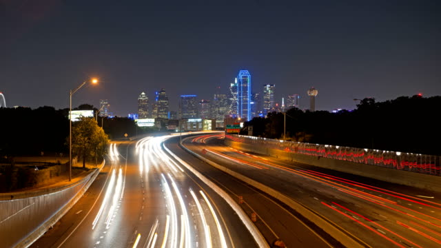 Downtown Dallas City at night, Texas, USA, 4K Timelapse