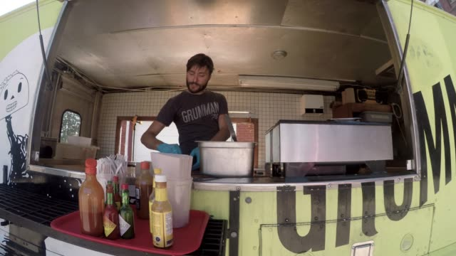 Downtown Food Truck Serving Client Paying Contactless Street Food Downtown Food Truck Serving Client Paying Contactless Street Food small business saturday stock videos & royalty-free footage