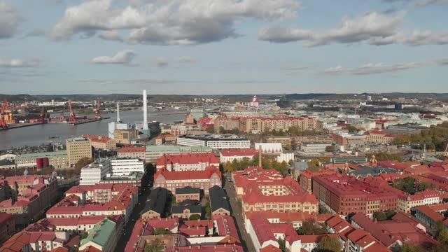 i stadens centrum göteborg, stads- plats, flyga över byggnader, flyg- - gothenburg bildbanksvideor och videomaterial från bakom kulisserna