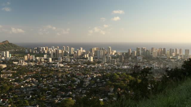 Downtown Honolulu Hawaii and Waikiki cityscape video
