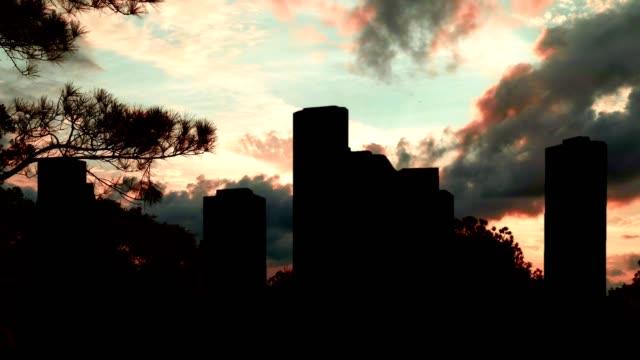 Downtown Houston Evening Silhouette Skyline