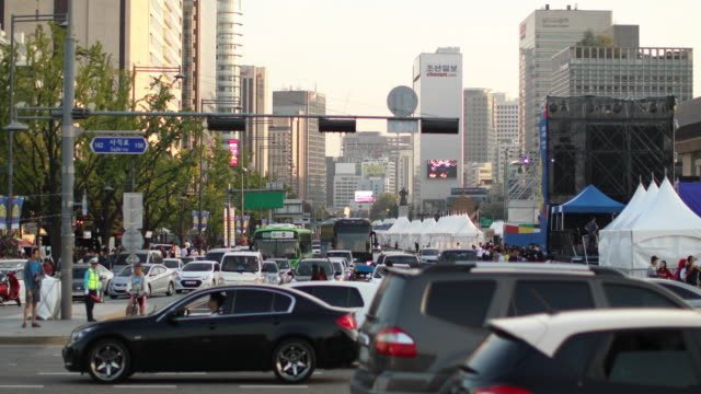 Downtown in Seoul Video of traffic in Seoul,South Korea seoul stock videos & royalty-free footage
