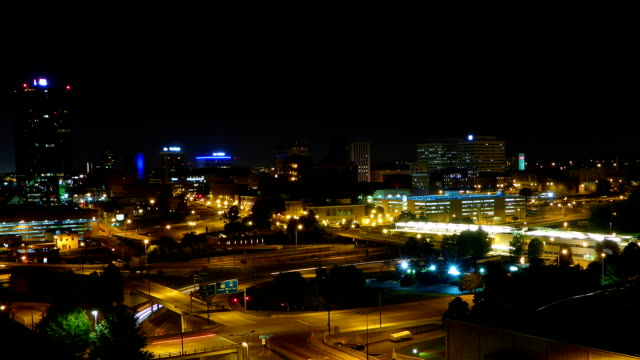 Downtown Knoxville Tennessee night time lapse video