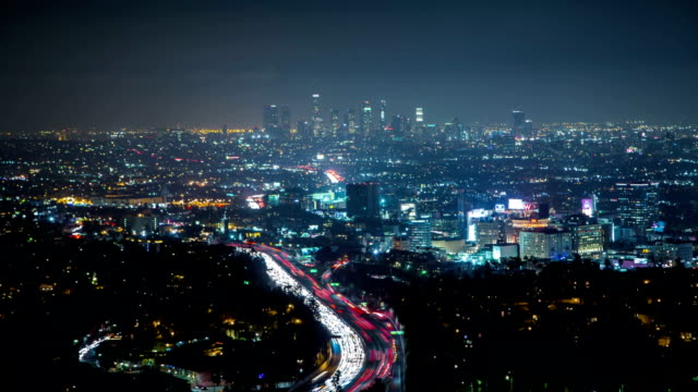 Downtown Los Angeles at night time laps video