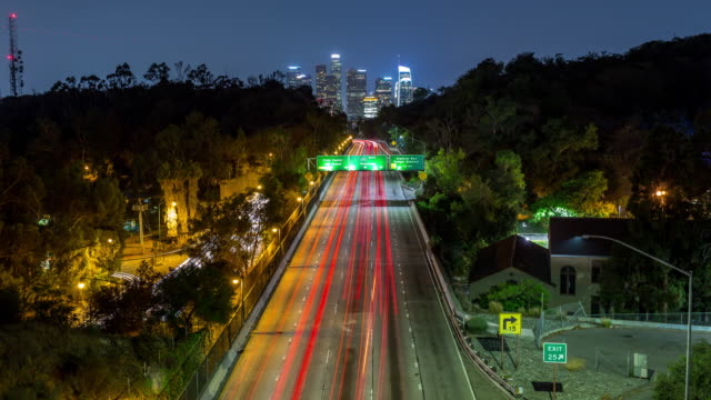 Downtown Los Angeles at Night Timelapse Downtown Los Angeles at Night Timelapse traffic time lapse stock videos & royalty-free footage