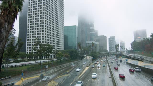 Downtown Los Angeles freeways in the rain HD video