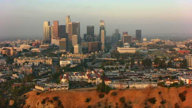 AERIAL Downtown Los Angeles from the Spiders View