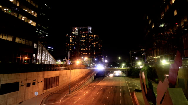 Downtown Los Angeles night time traffic video