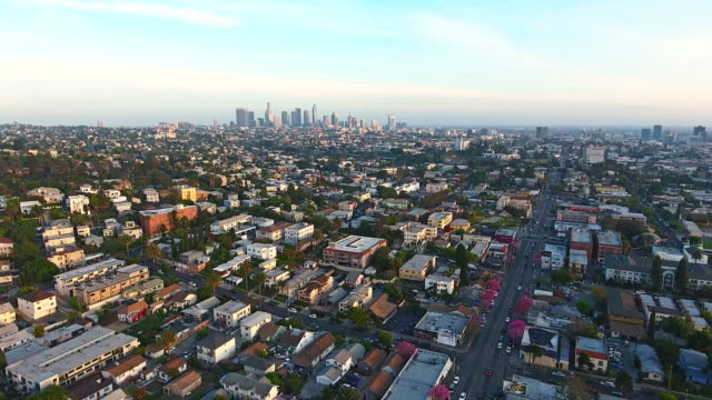 Downtown Los Angeles Skyline Aerial Downtown Los Angeles Skyline Aerial east stock videos & royalty-free footage