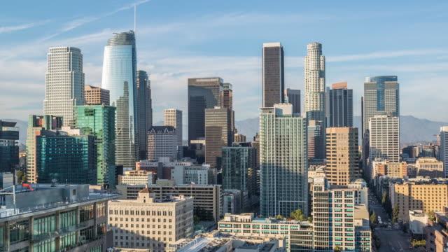downtown los angeles skyline dag timelapse - hollywood sign bildbanksvideor och videomaterial från bakom kulisserna