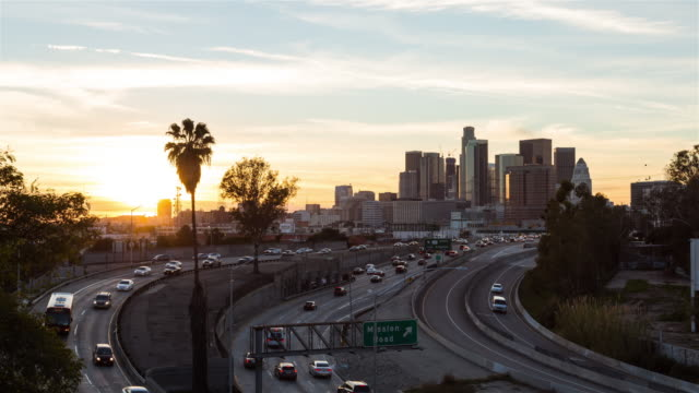 Downtown Los Angeles Skyline Day To Night Sunset Timelapse video