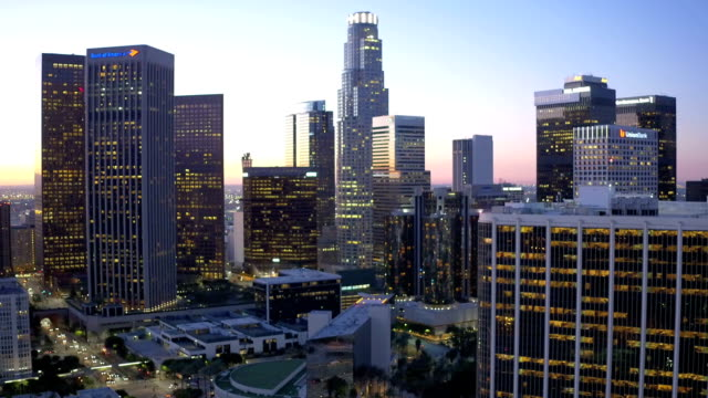 Downtown Los Angeles skyline With Road Aerial Traffic at Night Wide video
