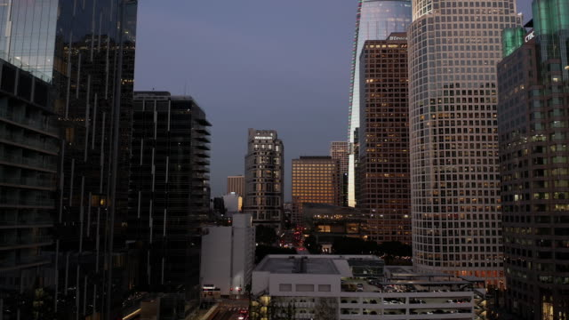 Downtown Los Angeles Skyscrapers at Dusk- 4K Drone Footage