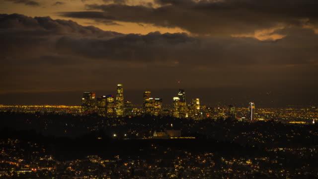 Die Innenstadt von Los Angeles Time Lapse Dämmerung zu dunkel – Video