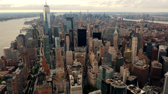 downtown lower manhattan from above early in the morning 4k - new york architecture stock videos & royalty-free footage