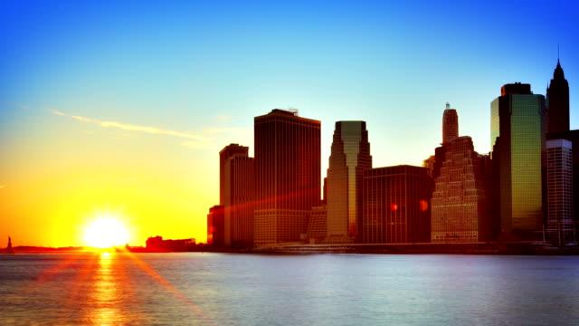 Downtown Manhattan sunset video