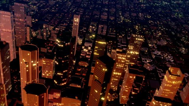 Downtown Metro City Skyline Fly Over Aerial (Loop) video