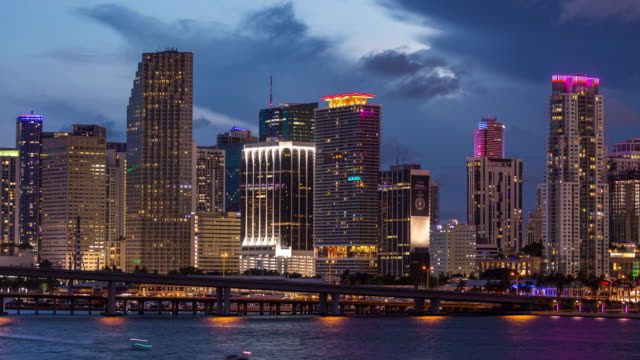 Downtown Miami Dusk to Night Close up Timelapse