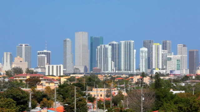 downtown miami from little havana - post modern architecture stock videos & royalty-free footage