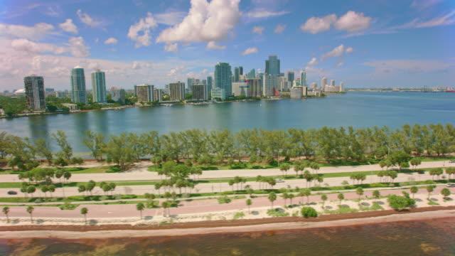 AERIAL Downtown Miami from Rickenbacker Causeway, FL