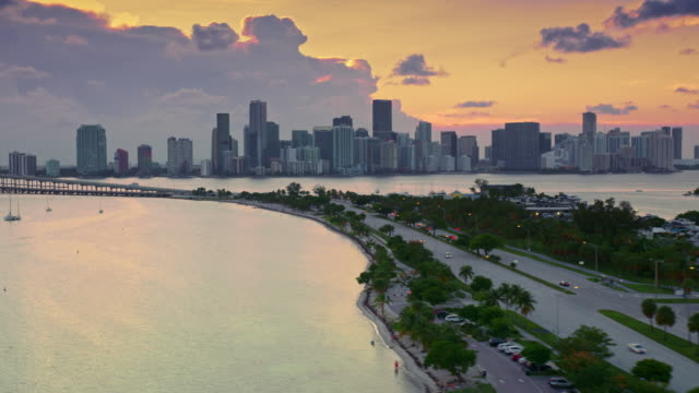 AERIAL Downtown Miami skyline in setting sun