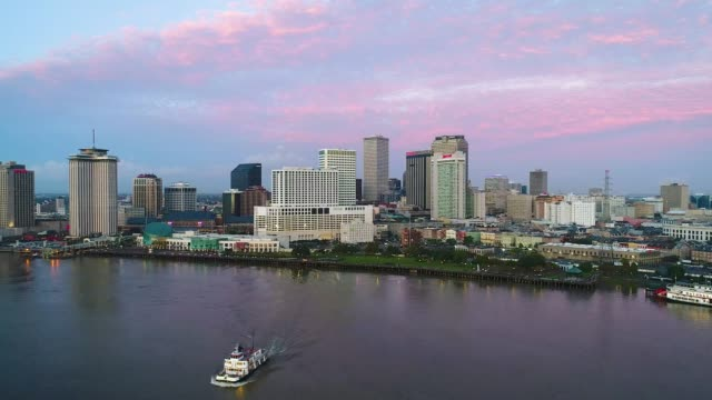 Downtown New Orleans Louisiana Skyline Aerial Drone Flyover