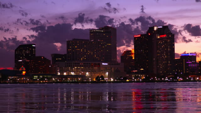 Downtown New Orleans skyline along the Mississippi River video