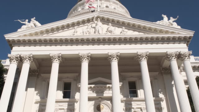 Downtown Sacramento California Capitol Dome Building Downtown Sacramento California Capitol Dome Building with clear skies architectural column stock videos & royalty-free footage