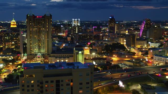 downtown san antonio, texas at night - drone shot - san antonio texas stock videos & royalty-free footage