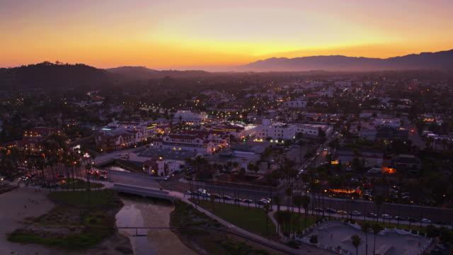 Downtown Santa Barbara at Dusk - Drone Shot video