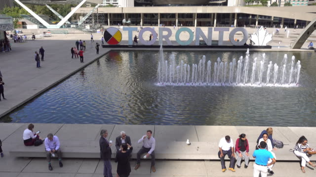 Downtown skyline at Nathan Phillips Square in Toronto