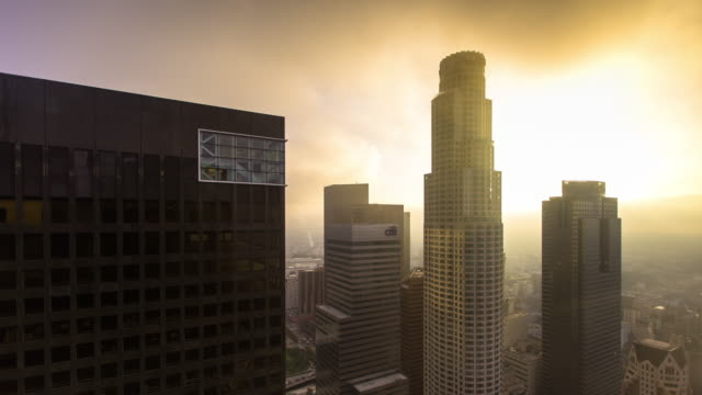 Downtown LA Skyscrapers from Up High on Foggy Day - Time Lapse video