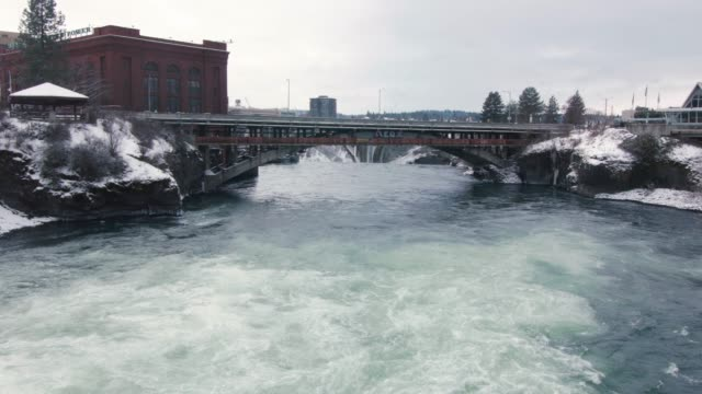 Downtown Spokane City River Bridge in Cold Winter Snow video