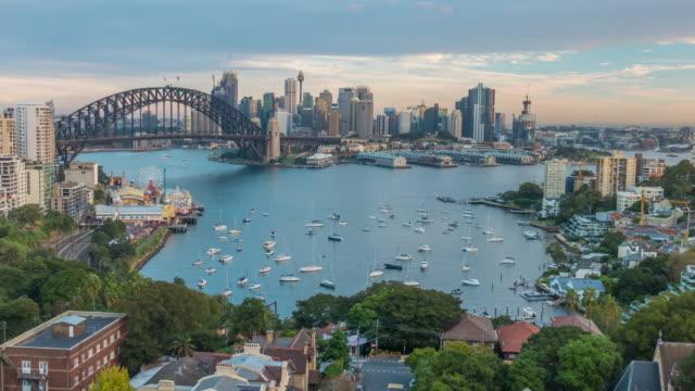 호주 다운타운 시드니 스카이라인 - 시드니 뉴사우스웨일스 스톡 비디오 및 b-롤 화면