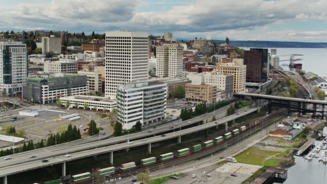 Downtown Tacoma Waterfront with Passing Freight Train - Aerial View