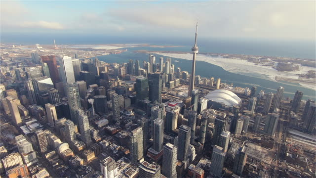 Downtown Toronto during the Winter 4K Aerial Sequence of Toronto, Canada - Downtown Toronto during the Winter ontario canada stock videos & royalty-free footage