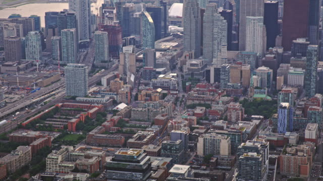 AERIAL Downtown Toronto from the East Bayfront neighbourhood video