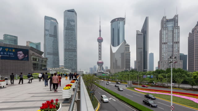 centro di traffico/shanghai, cina - 2016 video stock e b–roll