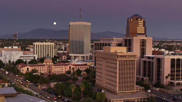 Downtown Tucson at Twilight with Full Moon - Drone Shot