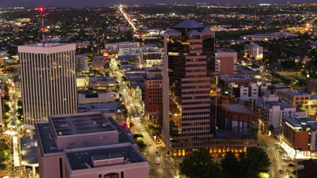 Downtown Tucson Lit Up at Night - Drone Shot - vídeo