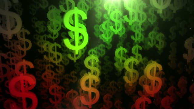Downward Dollar Sign Background Loop - Green to Red