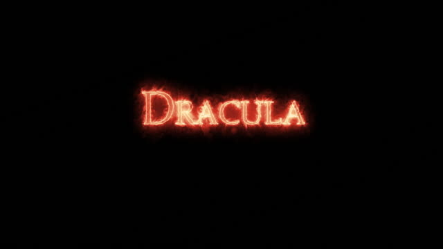 Dracula written with fire. Loop Dracula written with fire. Loop vampire stock videos & royalty-free footage