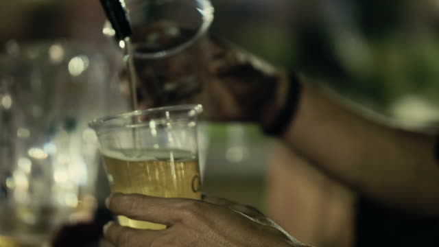Draft beer pouring video