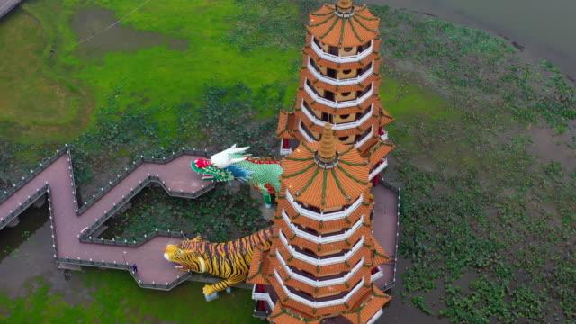 Dragon and Tiger Pagodas famous building in southern Taiwan at night, Aerial view Dragon and Tiger Pagodas, Kaohsiung, Taiwan.