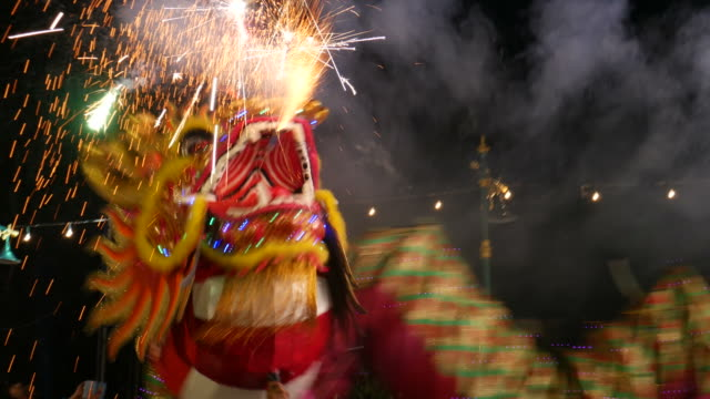 dragon dance in bangkok - dragon stock videos and b-roll footage