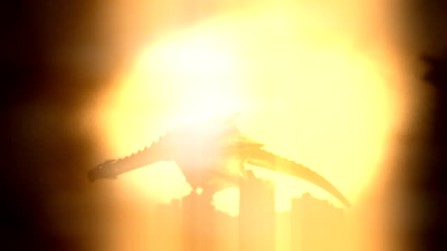 dragon flying in the sky on a sun and a castle background - dragon stock videos and b-roll footage