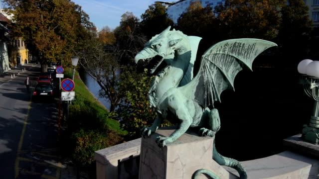 AERIAL: Dragon sculpture on the bridge video