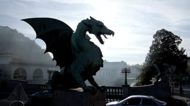 AERIAL: Dragon statue in Ljubljana video