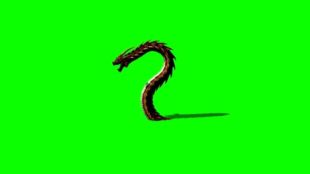 dragon worm appears and disappears on green screen with shadow