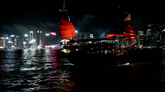 Dragonboat shipping in front of Hongkong skyline video